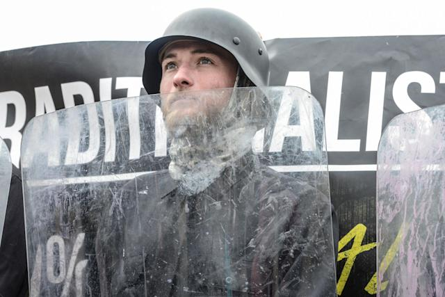"""<p>A member of a group called the Traditionalist Worker Party participates in a """"White Lives Matter"""" rally in Shelbyville, Tenn., Oct. 28, 2017. (Photo: Stephanie Keith/Reuters) </p>"""