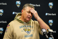 FILE - Jacksonville Jaguars head coach Doug Marrone speaks to members of the media during a post-game press conference after an NFL football game between the Jaguars and the Tampa Bay Buccaneers in Jacksonville, Fla., in this, Sunday, Dec. 1, 2019, file photo. The Jaguars have fired coach Doug Marrone a little more than 12 hours after ending the season with a 15th consecutive loss. It was a move many thought owner Shad Khan should have made at the end of 2019. The Jaguars canceled Marrones season-ending news conference scheduled for Monday, Jan. 4, 2021. (AP Photo/Stephen B. Morton, File)