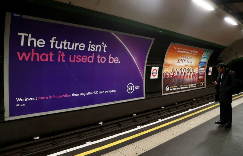 FILE PHOTO: British Telecom (BT) advertisement is displayed at Goodge Street underground station in London