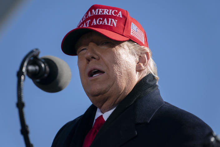President Donald Trump speaks during a campaign rally at Fayetteville Regional Airport, Monday, Nov. 2, 2020, in Fayetteville, N.C. (AP Photo/Evan Vucci)