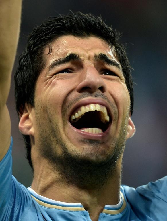 Uruguay forward Luis Suarez celebrates a goal against England at the 2014 World Cup