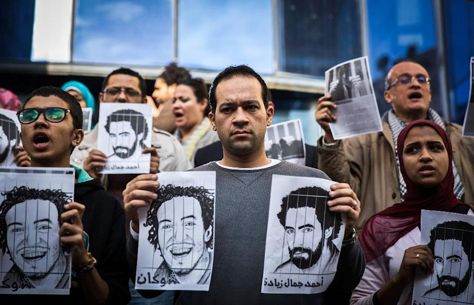 Thousands of activists, as well as several journalists, have been detained since former army chief and now President Abdel Fattah al-Sisi overthrew his Islamist predecessor Mohamed Morsi in 2013 (AFP Photo/Mohamed El-Shahed)