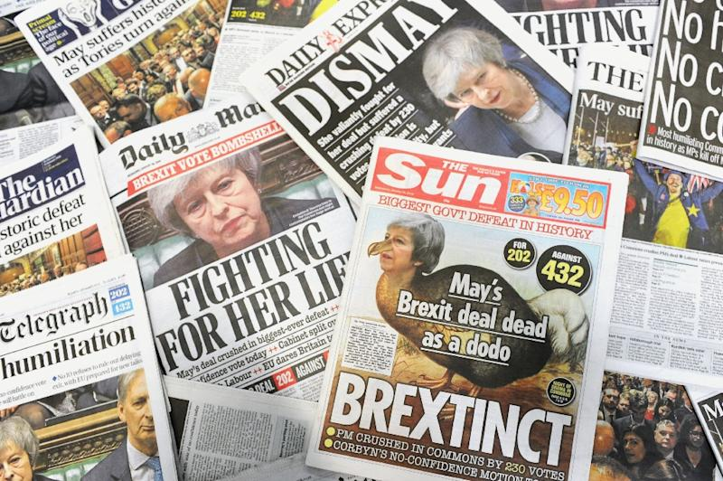 British newspapers cast the vote against the Brexit deal as a humiliation for the prime minister (AFP Photo/DANIEL SORABJI                      )