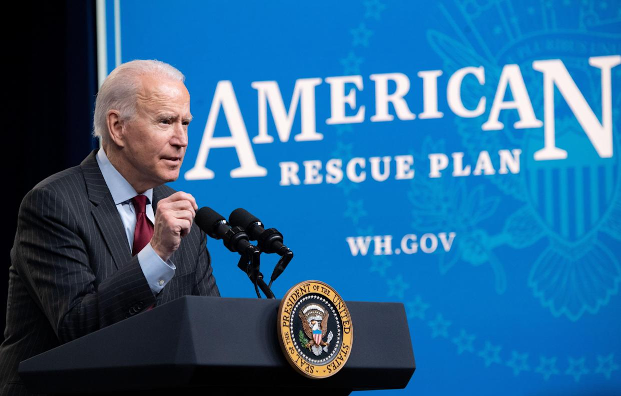 US President Joe Biden speaks about the American Rescue Plan and the Paycheck Protection Program (PPP) for small businesses in response to coronavirus, in the Eisenhower Executive Office Building in Washington, DC, February 22, 2021. (Saul Loeb/AFP via Getty Images)
