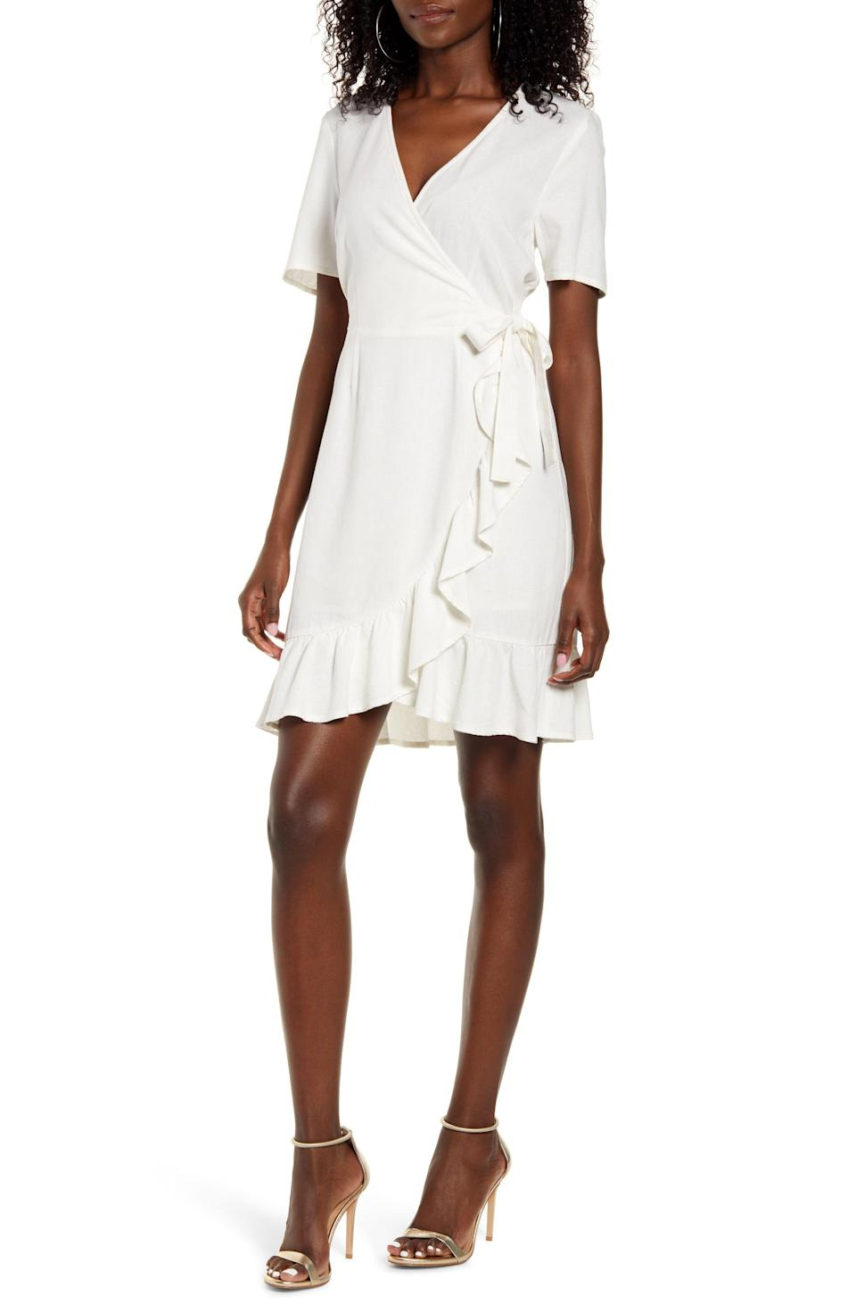 """<p><strong>VERO MODA</strong></p><p>nordstrom.com</p><p><strong>$65.00</strong></p><p><a href=""""https://go.redirectingat.com?id=74968X1596630&url=https%3A%2F%2Fshop.nordstrom.com%2Fs%2Fvero-moda-helen-faux-wrap-minidress%2F5637427&sref=https%3A%2F%2Fwww.goodhousekeeping.com%2Fbeauty%2Ffashion%2Fg32127704%2Fwhat-to-wear-to-a-baby-shower%2F"""" rel=""""nofollow noopener"""" target=""""_blank"""" data-ylk=""""slk:Shop Now"""" class=""""link rapid-noclick-resp"""">Shop Now</a></p><p>While wearing white to a wedding is totally taboo, there are no rules about wearing white to a baby shower. A simple white dress can be both dressed up and dressed down, and will make getting ready for any baby shower a breeze (especially if you have can't decide on whether to wear heels or flats until you are in the parking lot). </p>"""