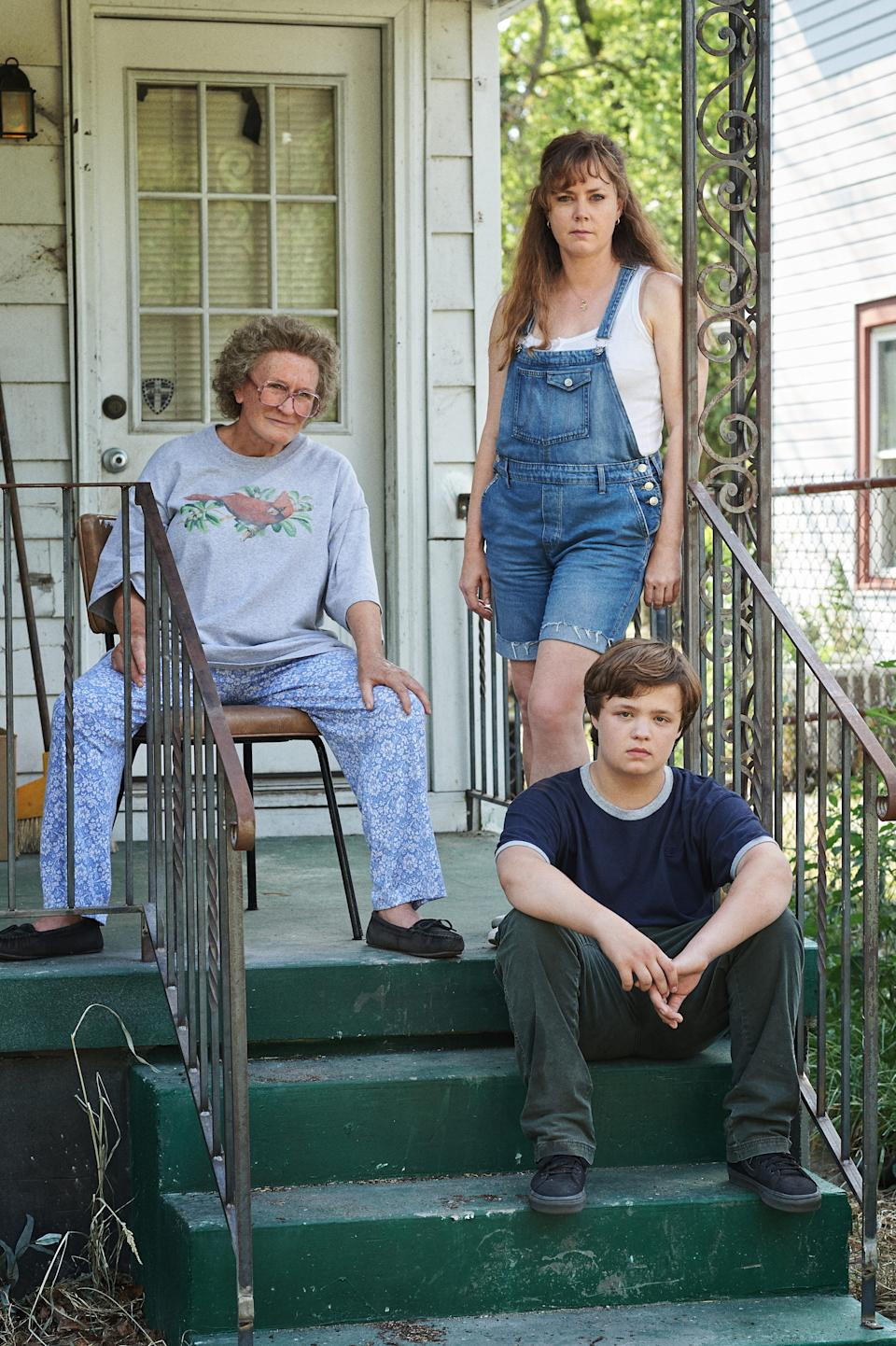 """Glenn Close (left) stars as the matriarch trying to keep her family, including her daughter (Amy Adams) and grandson (Owen Asztalos), out of trouble in Ron Howard's """"Hillbilly Elegy."""""""