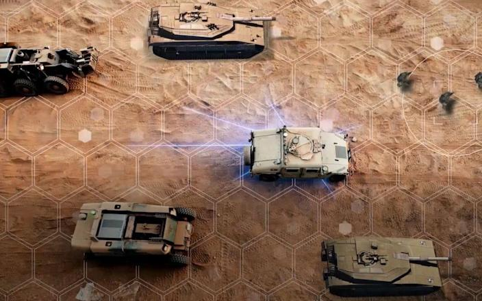 Another image from the mock-up shows armoured vehicles patrolling
