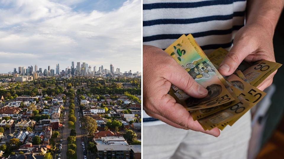 Aerial view of Australian suburb, hands holding Australian $50 notes.