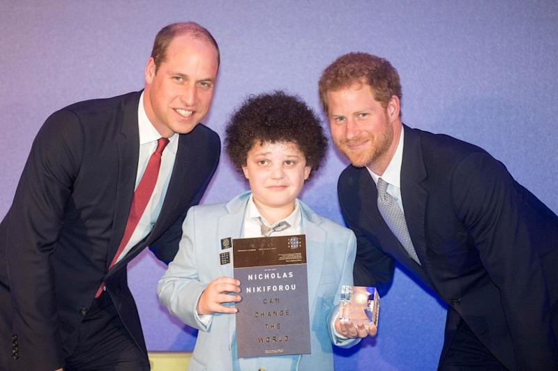 Prince William and Prince Harry with previous Diana Award recipient | Paul Grover/Daily Telegraph/PA Wire