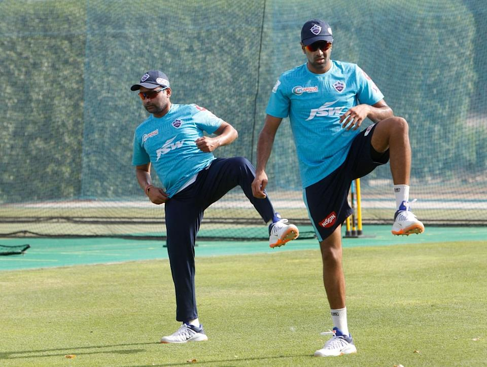 Delhi Capitals' Amit Mishra and Ravichandran Ashwin.