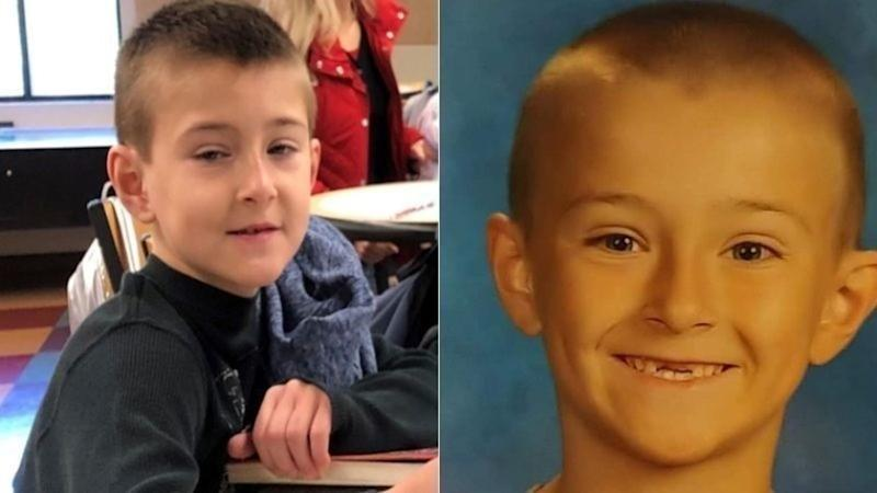 Noah McIntosh, 8, is shown in a photo released by Corona police, left, and in a family photo.