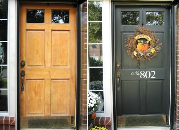 """<body> <p>The <a href="""" http://www.bobvila.com/red-door/8454-15-eye-catching-options-for-your-front-door/slideshows#.VQme-mTF8bo?bv=yahoo"""" rel=""""nofollow noopener"""" target=""""_blank"""" data-ylk=""""slk:front door"""" class=""""link rapid-noclick-resp"""">front door</a> makes a big impression—it's the first and last thing visitors see. Painting your door is a quick and low-cost way to instantly boost curb appeal. Whether you go with a stately classic like black or a bright pop of color like yellow or red, a fresh coat of paint will instantly spiff up a tired exterior.</p> <p><strong>Related: <a href="""" http://www.bobvila.com/gray-front-door/46830-10-welcoming-front-door-paint-colors/slideshows#.VQme8WTF8bo?bv=yahoo"""" rel=""""nofollow noopener"""" target=""""_blank"""" data-ylk=""""slk:10 Welcoming Front Door Paint Colors"""" class=""""link rapid-noclick-resp"""">10 Welcoming Front Door Paint Colors</a> </strong> </p> </body>"""