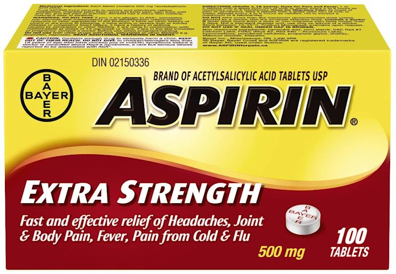 Bayer Aspirin Extra Strength Tablet, 500 mg. Image via Amazon.