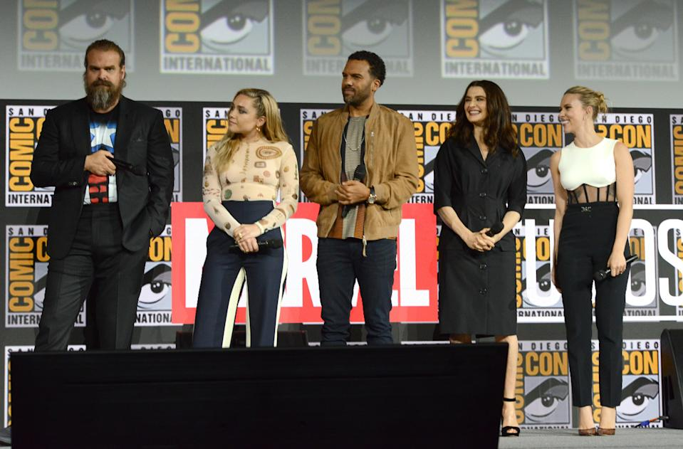SAN DIEGO, CALIFORNIA - JULY 20: (L-R) David Harbour, Florence Pugh, O. T. Fagbenle, Rachel Weisz and Scarlett Johansson speak at the Marvel Studios Panel during 2019 Comic-Con International at San Diego Convention Center on July 20, 2019 in San Diego, California. (Photo by Albert L. Ortega/Getty Images)