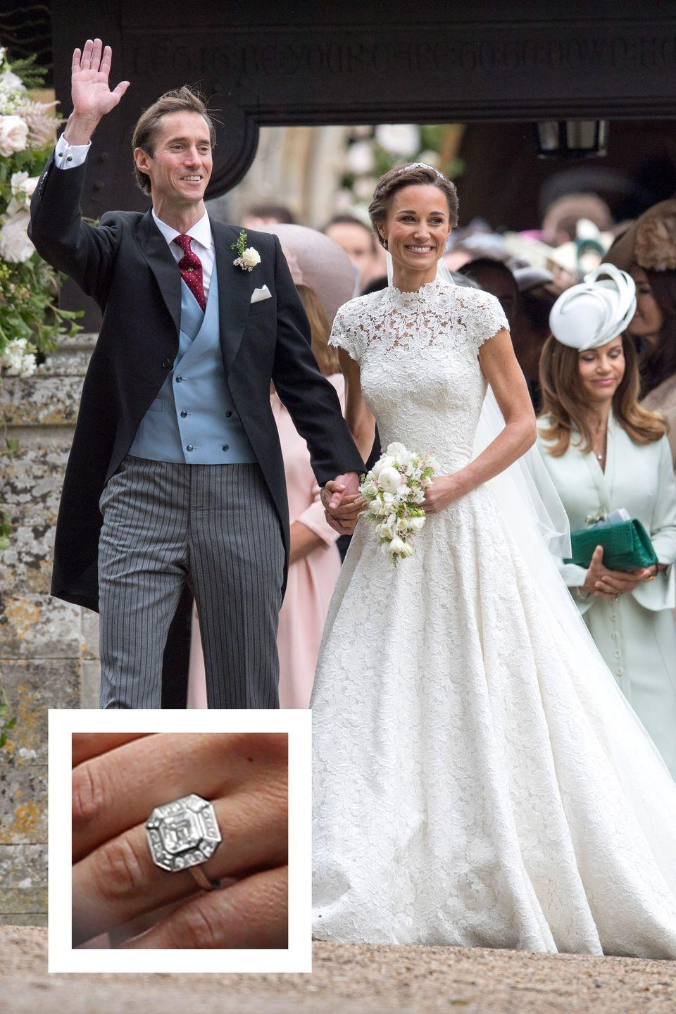 """<p><a href=""""https://www.townandcountrymag.com/society/tradition/news/a7031/pippa-middletons-fiance-james-matthews/"""" rel=""""nofollow noopener"""" target=""""_blank"""" data-ylk=""""slk:Pippa's now-husband James Matthews"""" class=""""link rapid-noclick-resp"""">Pippa's now-husband James Matthews</a> proposed in July 2016 with <a href=""""https://www.townandcountrymag.com/style/jewelry-and-watches/news/a7033/pippa-middleton-engagement-ring/"""" rel=""""nofollow noopener"""" target=""""_blank"""" data-ylk=""""slk:a statement engagement ring: an Asscher cut diamond"""" class=""""link rapid-noclick-resp"""">a statement engagement ring: an Asscher cut diamond</a> surrounded by an octogonal halo of smaller diamonds. The center stone is reported to be about three carats in size, and the entire ring is estimated to be worth just over $260,000, <a href=""""http://people.com/royals/all-about-pippa-middletons-engagement-ring/"""" rel=""""nofollow noopener"""" target=""""_blank"""" data-ylk=""""slk:People reports."""" class=""""link rapid-noclick-resp""""><em>People</em> reports.</a> The duo wed <a href=""""https://www.townandcountrymag.com/the-scene/weddings/a9207132/pippa-middleton-wedding-updates/"""" rel=""""nofollow noopener"""" target=""""_blank"""" data-ylk=""""slk:in a fairytale wedding ceremony in May 2017."""" class=""""link rapid-noclick-resp"""">in a fairytale wedding ceremony in May 2017.</a></p>"""