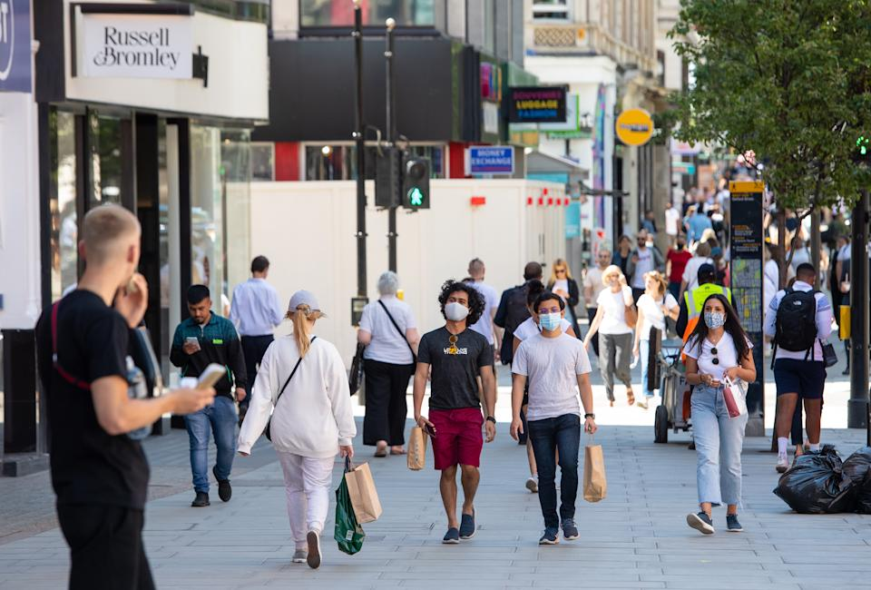 Shoppers on Oxford Street in central London, following the further easing of lockdown restrictions in England. Picture date: Tuesday June 8, 2021. (Photo by Dominic Lipinski/PA Images via Getty Images)