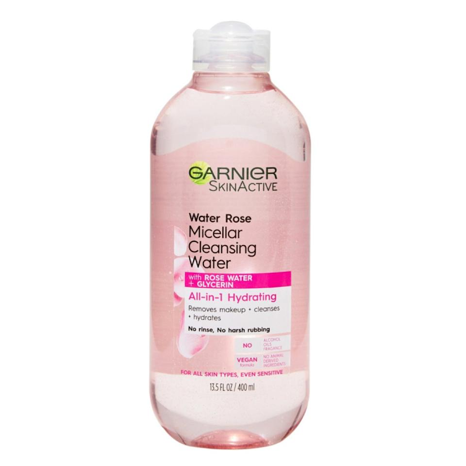 """Micellar water is a must-have for me to gently remove makeup and clean my skin without drying. Garnier's version is a near-perfect dupe for a French fave, and I love the new one with rose water even more then the original. Aside from smelling slightly of fresh roses, it has extra moisturizing properties perfect for my sensitive skin. <em>—Bella Cacciatore, beauty associate</em> $8.99, Garnier SkinActive Micellar Cleansing Water with Rose Water. <a href=""""https://www.ulta.com/skinactive-micellar-cleansing-water-with-rose-water?productId=pimprod2008051"""">Get it now!</a>"""