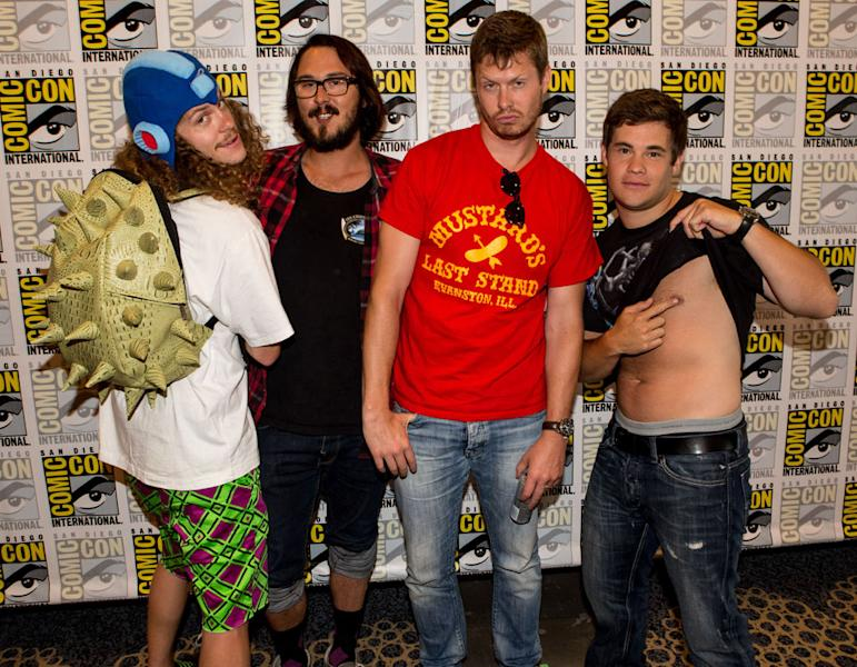 "Blake Anderson, Kyle Newacheck, Anders Holm, and Adam Devine (""Workaholics"") at Comic-Con International on July 12, 2012 in San Diego, California."