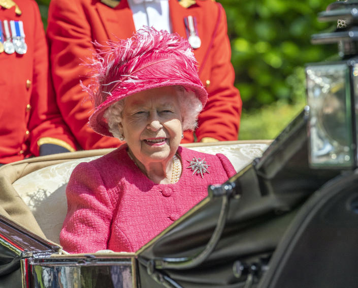 Queen Elizabeth II in her carriage as she heads to Ascot Race course from Windsor Castle for day four of the Royal Ascot meeting. (Photo by Steve Parsons/PA Images via Getty Images)