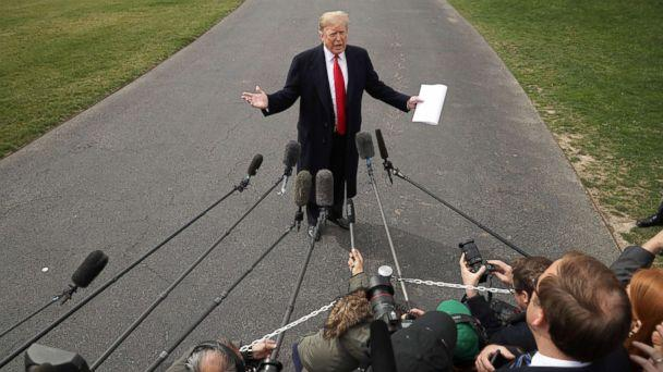 PHOTO: President Donald Trump talks with journalists before departing the White House March 20, 2019. (Chip Somodevilla/Getty Images)