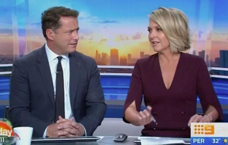 Georgie called Karl 'pathetic' during a segment on sausage dogs, however, the words were fully loaded. Source: Channel 9