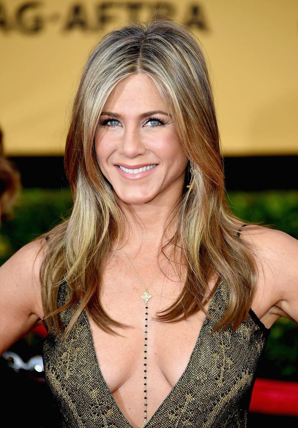 """<p>Jen knows how to keep her skin hydrated. In a <a href=""""https://www.womenshealthmag.com/life/a19937094/jennifer-aniston-beauty-products/"""" rel=""""nofollow noopener"""" target=""""_blank"""" data-ylk=""""slk:2014 interview"""" class=""""link rapid-noclick-resp"""">2014 interview</a>, revealed that staying hydrated and really scrubbing your pores is the key to a shining complexion. And if you've never tried royal jelly before, she highly recommends.<br></p>"""