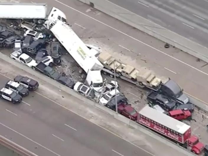 The deadly pile up in Texas on 11 February 2021 ((WFAA))