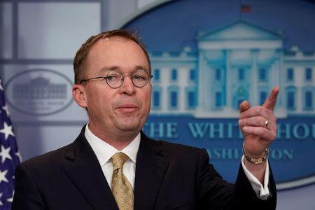 White House budget director Mick Mulvaney speaks at a news briefing