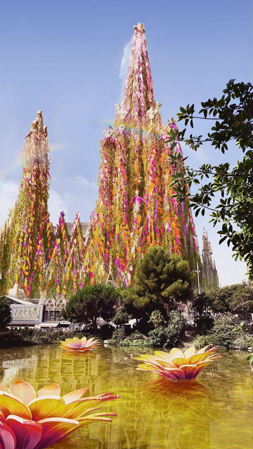 <p>The world's oldest construction project, Sagrada Familia was first started in 1882, but still hasn't been completed after being interrupted by the Spanish Civil War. </p><p>With a biophilic makeover, it now has geraniums and durantas encasing the church, as well as shards of red, orange and pink resembling the native flowers of Spain.</p>