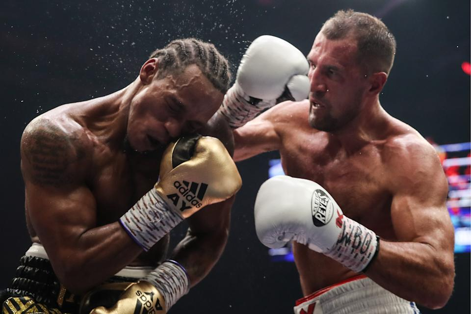 CHELYABINSK, RUSSIA - AUGUST 25, 2019: British boxer Anthony Yarde (L) and Russian boxer Sergey Kovalev in their WBO light heavyweight title bout during a boxing show at Traktor Ice Arena. Valery Sharifulin/TASS (Photo by Valery Sharifulin\TASS via Getty Images)