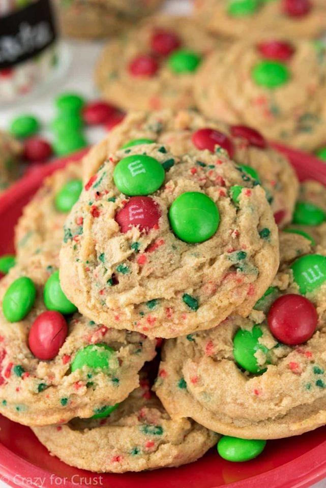 """<p>Be sure to layer in plenty of M&Ms into this brown sugar-pudding mix-the more, the merrier!</p><p><strong>Get the recipe at <a rel=""""nofollow"""" href=""""https://www.crazyforcrust.com/santas-favorite-cookies/"""">Crazy for Crust</a>.</strong></p><p><a rel=""""nofollow"""" href=""""https://www.amazon.com/Bellemain-Cooling-Rack-Quality-Tight-Grid/dp/B00OY91N90"""">SHOP COOLING RACKS</a></p>"""