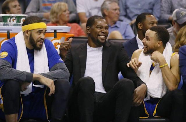 """<a class=""""link rapid-noclick-resp"""" href=""""/nba/players/4244/"""" data-ylk=""""slk:Kevin Durant"""">Kevin Durant</a> could be back on Saturday, and the Warriors are giddy. (AP)"""