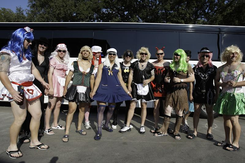 Oakland A's players in dress-up mode, circa 2008. (AP)