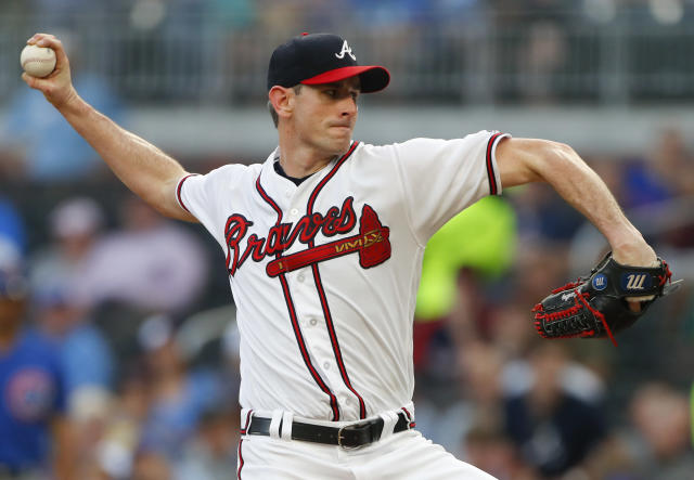 Atlanta Braves starting pitcher Brandon McCarthy works in the first inning of a baseball game against the Chicago Cubs on Wednesday, May 16, 2018, in Atlanta. (AP Photo/John Bazemore)