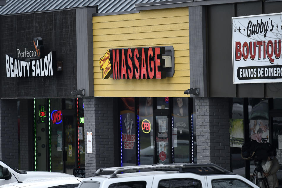 A massage parlor is seen where a multiple fatal shooting occurred on Tuesday, Wednesday, March 17, 2021, in Acworth, Ga. Robert Aaron Long, a white man, is accused of killing several people, most of whom were of Asian descent, at massage parlors in the Atlanta area. (AP Photo/Mike Stewart)