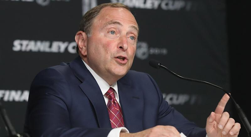 BOSTON, MASSACHUSETTS - MAY 27: Commissioner Gary Bettman of the National Hockey League speaks with the media prior to Game One of the 2019 NHL Stanley Cup Final at TD Garden on May 27, 2019 in Boston, Massachusetts. (Photo by Bruce Bennett/Getty Images)