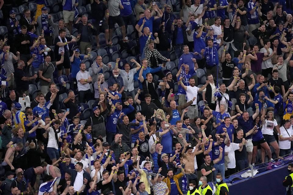 Chelsea fans at the Uefa Champions League final at Porto's Estadio do Dragao (PA Wire)