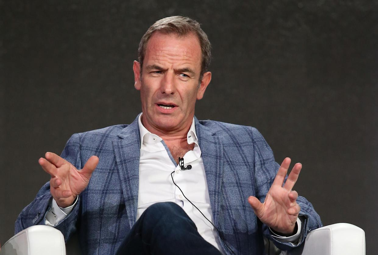 PASADENA, CA - JANUARY 18:  Robson Green speaks onstage during Masterpiece's 'Grantchester' panel as part of the PBS portion of the 2016 Television Critics Association Winter Press Tour at Langham Hotel on January 18, 2016 in Pasadena, California.  (Photo by Frederick M. Brown/Getty Images)