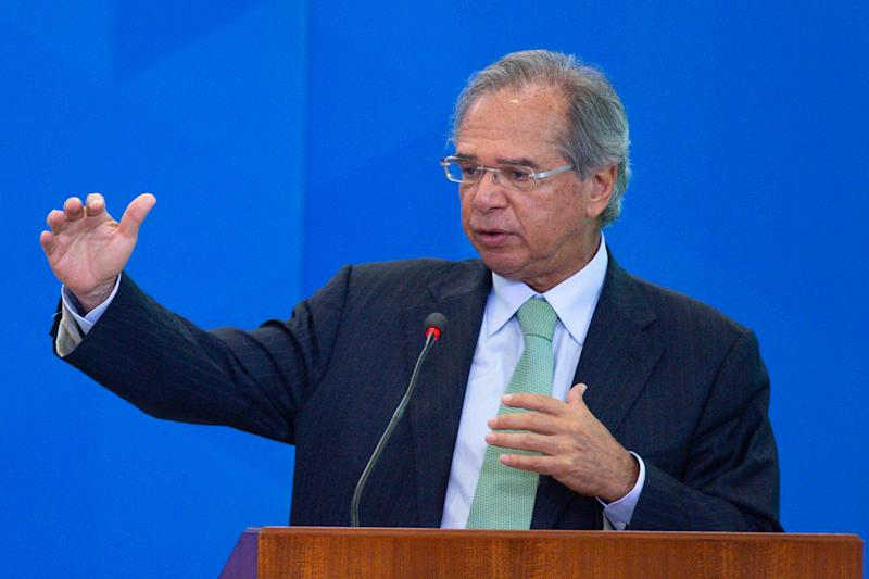 """BRASILIA, BRAZIL - FEBRUARY 20: Brazil's Economy Minister Paulo Guedes speaks during the """"Ceremony of the New Housing Credit Program"""" at the Planalto Palace on February 20, 2020 in Brasilia, Brazil. (Photo by Andressa Anholete/Getty Images)"""