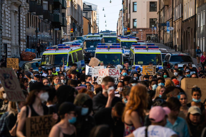 """<div class=""""inline-image__caption""""><p>A large police force follows protesters during a Black Lives Matter demonstration in Stockholm, Sweden, on June 13, 2020, in solidarity with protests that raged across the United States over the death of George Floyd.</p></div> <div class=""""inline-image__credit"""">JONATHAN NACKSTRAND/AFP via Getty Images</div>"""