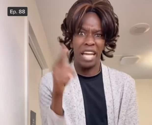 Tope Babalola wears a wig to play the rude customer in his skits, playing on millennial humour about 'Karens' - a pejorative slang term for an obnoxious, angry, entitled and often racist middle-aged white woman.