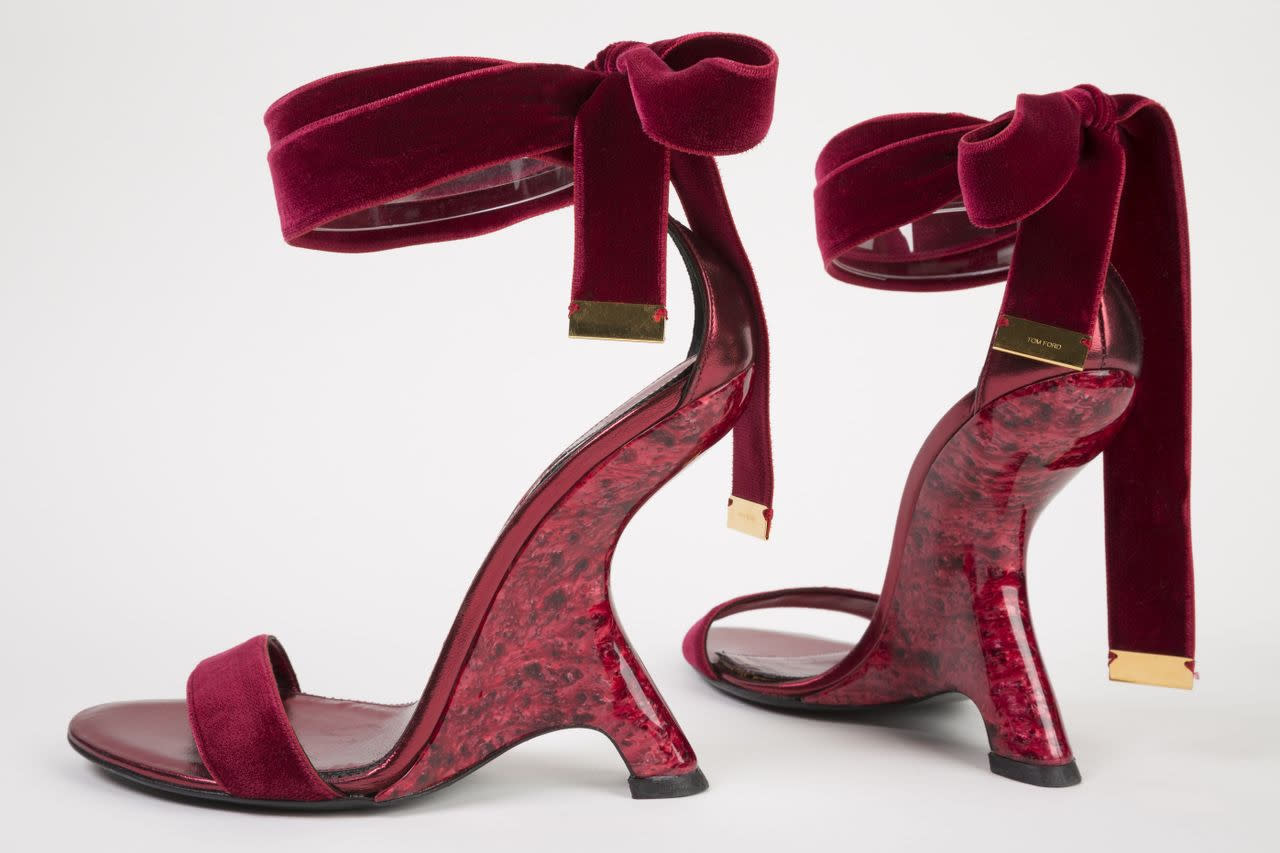 "This undated photo provided by the Fashion Institute of Technology shows a pair of shoes designed by Tom Ford in 2012. The shoes are displayed at the ""Shoe Obsession"" exhibit at The Museum at the Fashion Institute of Technology Museum in New York. The exhibition, showing off 153 specimens, runs through April 13. (AP Photo/Fashion Institute of Technology)"