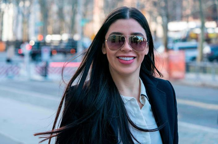 """The wife of Joaquin """"El Chapo"""" Guzman, Emma Coronel Aispuro, arrives at the federal courthouse in Brooklyn on Jan. 14, 2019, in New York."""