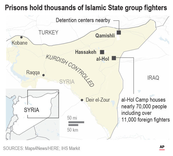 Kurdish-run prisons hold thousands of Islamic State group fighters;