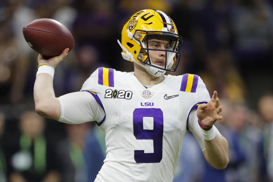 LSU quarterback Joe Burrow will be a focal point of the NFL scouting combine this week. (AP Photo/Gerald Herbert)
