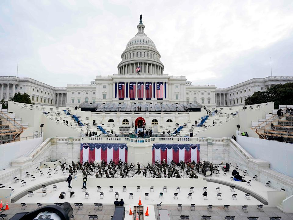 <p>Preparations are made prior to a dress rehearsal for the 59th inaugural ceremony for President-elect Joe Biden and Vice President-elect Kamala Harris</p> (POOL/AFP via Getty Images)