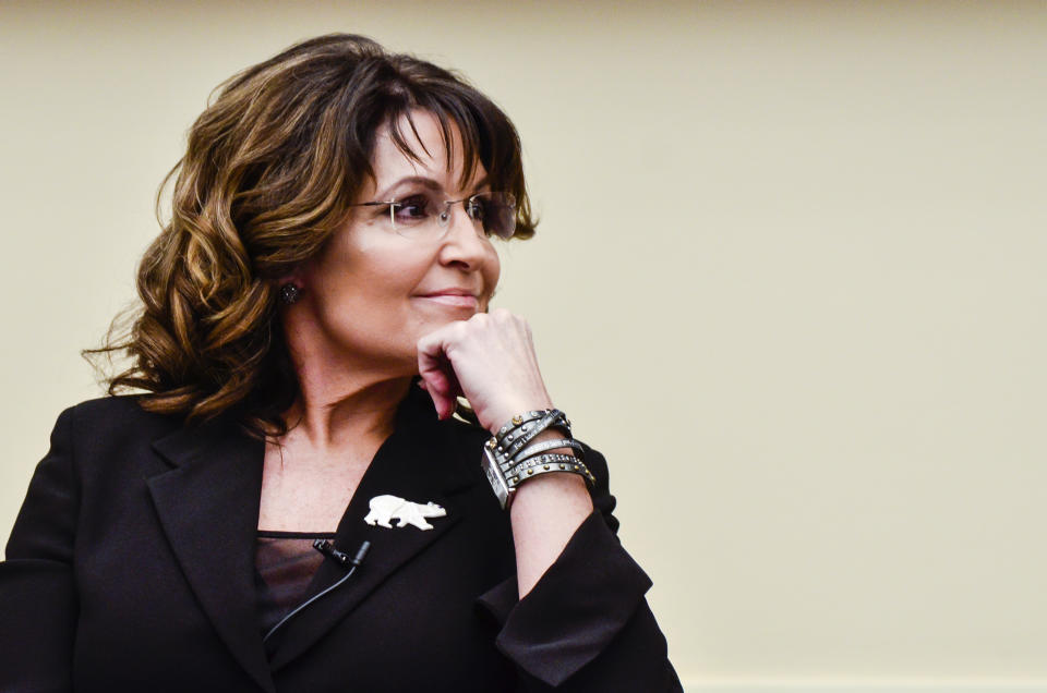 """WASHINGTON, DC - APRIL 14: Former Governor Sarah Palin speaks during the """"Climate Hustle"""" panel discussion at the Rayburn House Office Building on April 14, 2016 in Washington, DC. (Kris Connor/Getty Images)"""
