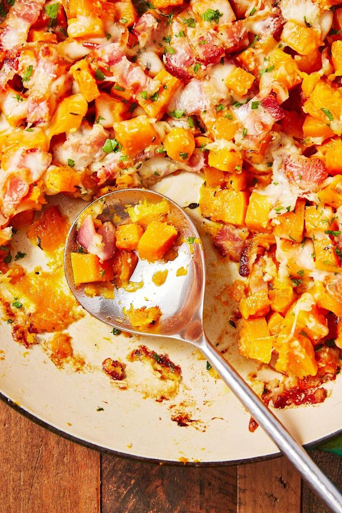 """<p>Just as tasty as potatoes, we promise.</p><p>Get the recipe from <a href=""""https://www.delish.com/cooking/recipe-ideas/recipes/a56379/cheesy-bacon-butternut-squash-recipe/"""" rel=""""nofollow noopener"""" target=""""_blank"""" data-ylk=""""slk:Delish"""" class=""""link rapid-noclick-resp"""">Delish</a>.</p>"""
