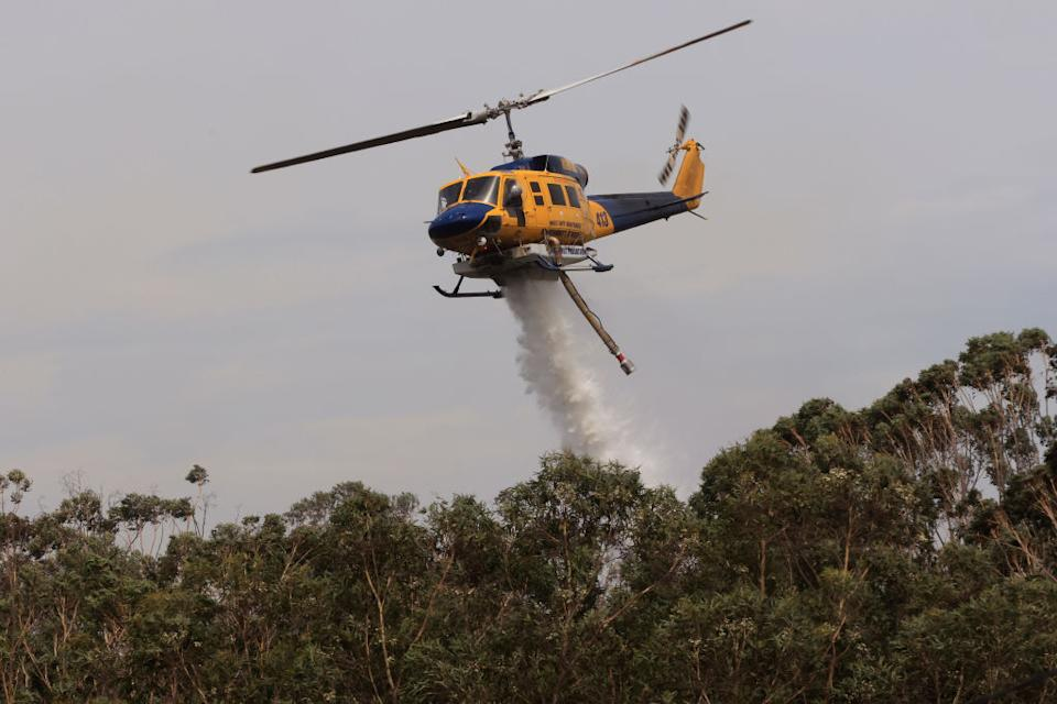 Helicopters water bomb a bushfire at Northmead in Sydney.
