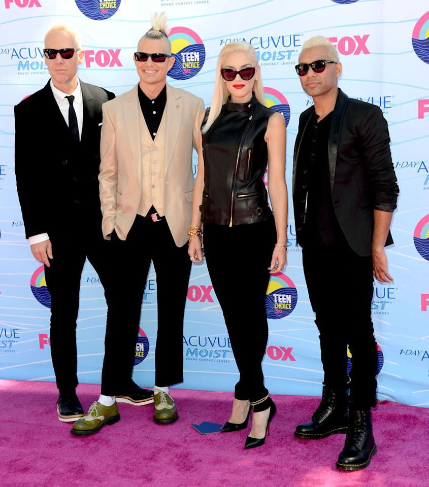 Musicians Tom Dumont, Adrian Young, Singer Gwen Stefani and musician Tony Ashwin Kanal of No Doubt arrive at the 2012 Teen Choice Awards at Gibson Amphitheatre on July 22, 2012 in Universal City, California.